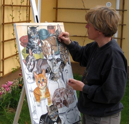 """Keramik-Kätzchen"""" / 60 x 80 cm"""